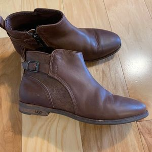 Ugg chocolate brown belted ankle booties. 9